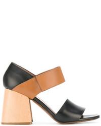 Sandalias de tacón de cuero negras de Marni