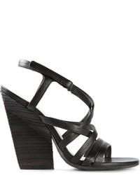 Sandalias de Tacón de Cuero Negras de Marsèll