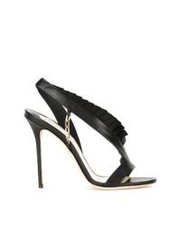 Sandalias de Tacón de Cuero Negras de Olgana