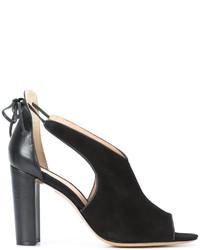 Sandalias de Tacón de Cuero Negras de Rachel Zoe