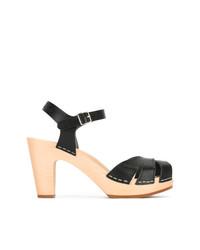 Sandalias de tacón de cuero negras de Swedish Hasbeens