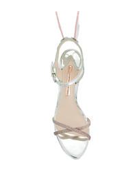 Sandalias de tacón de cuero plateadas de Sophia Webster