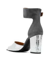 Sandalias de tacón de cuero plateadas de Via Roma 15