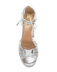 Sandalias de tacón de cuero plateadas de Aquazzura