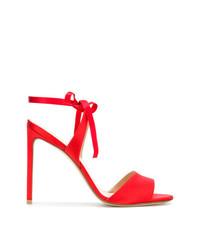 Sandalias de tacón de cuero rojas de Francesco Russo