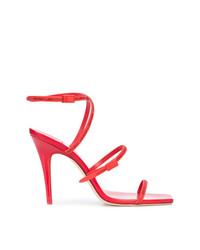 Sandalias de tacón de cuero rojas de Off-White