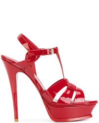 Sandalias de Tacón de Cuero Rojas de Saint Laurent