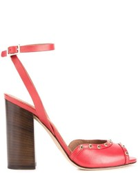 Sandalias de tacón de cuero rojas