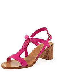 Sandalias de tacón de cuero rosa