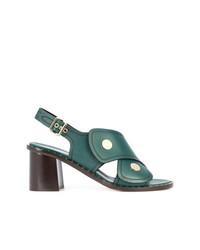 Sandalias de Tacón de Cuero Verde Oscuro de Derek Lam
