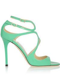 Sandalias de tacón de cuero verdes