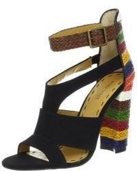Sandalias de tacón de lona negras