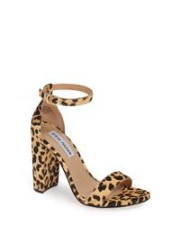 Sandalias de tacón de pelo de becerro de leopardo marrón claro