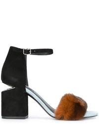 Sandalias de tacón de pelo negras de Alexander Wang