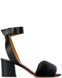 Sandalias de tacón de pelo negras de Givenchy