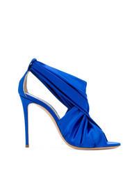 Sandalias de tacón de satén azules