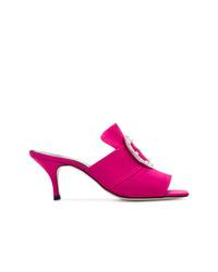 Sandalias de tacón de satén rosa de Dorateymur