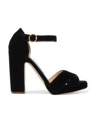 Sandalias de tacón de terciopelo gruesas negras