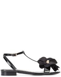 Sandalias planas con adornos negras de Lanvin