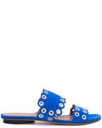 Sandalias planas de ante azules de Derek Lam