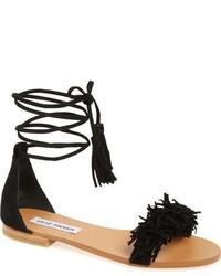579eb0427dcac Comprar unas sandalias planas de ante сon flecos negras  elegir ...