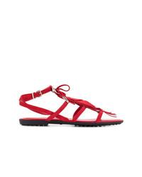 Sandalias planas de ante сon flecos rojas de Tod's