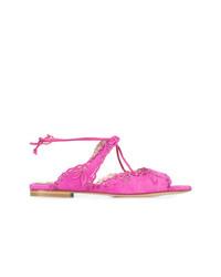 Sandalias planas de ante rosa de Marchesa