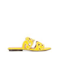 Sandalias planas de cuero amarillas de Derek Lam