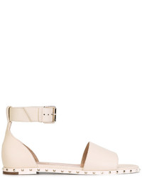 Sandalias planas de cuero blancas de Valentino Garavani