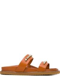 Sandalias planas de cuero con adornos en tabaco de Twin-Set