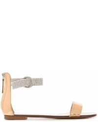 Sandalias planas de cuero con adornos marrón claro de Giuseppe Zanotti Design