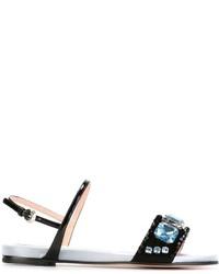 Sandalias planas de cuero con adornos negras de Rochas