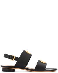 Sandalias planas de cuero con adornos negras de Valentino