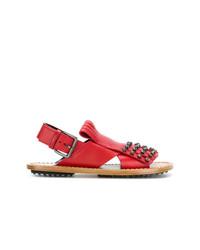 Sandalias planas de cuero con adornos rojas de Marni