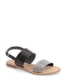 Sandalias planas de cuero con print de serpiente grises