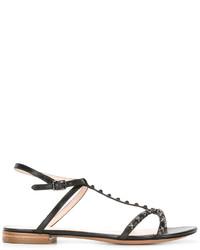 Sandalias planas de cuero con tachuelas negras de Marc Jacobs