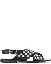 Sandalias planas de cuero con tachuelas negras de MCQ