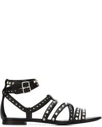 Sandalias planas de cuero con tachuelas negras de Saint Laurent