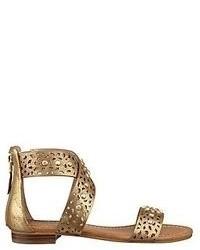 Sandalias planas de cuero doradas