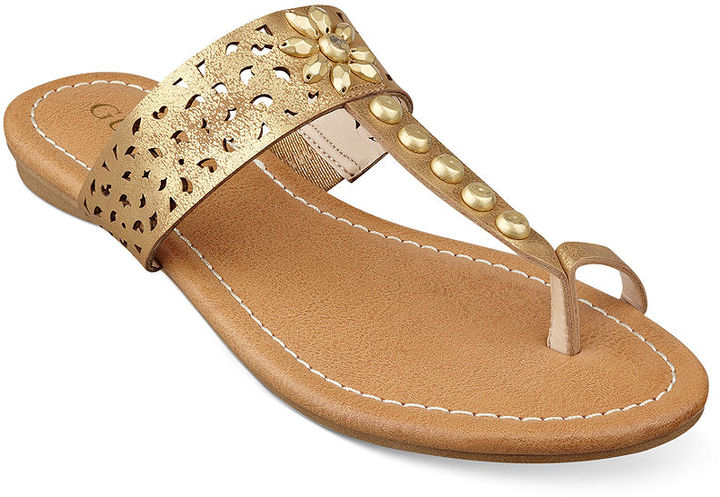 Sandalias planas plateadas y doradas Guess Uh27sWI