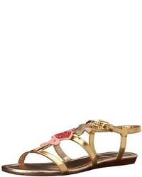 Sandalias planas de cuero doradas de kate spade new york