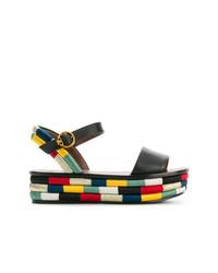 Sandalias planas de cuero en multicolor de Tory Burch
