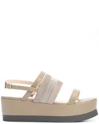Sandalias planas de cuero grises de Fabiana Filippi
