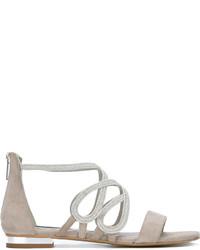 Sandalias planas de cuero grises de Steffen Schraut