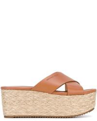 Sandalias planas de cuero marrón claro de MICHAEL Michael Kors
