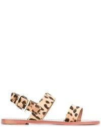 Sandalias planas de cuero marrón claro de RED Valentino
