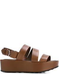 Sandalias planas de cuero marrónes de Tod's