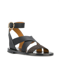 Sandalias planas de cuero negras de Chloé