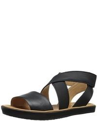 Sandalias planas de cuero negras de Corso Como
