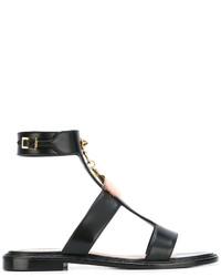 Sandalias planas de cuero negras de Fendi